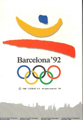 Barcelona, Olympics, post card, logo, Olympic rings, 1992, souvenir, travel, sports