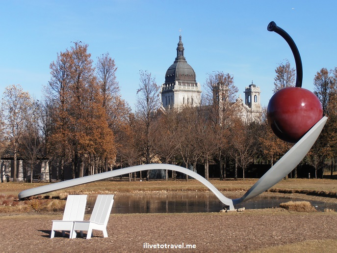 cherry, spoon, Walker Garden, Minneapolis, art, sculpture, Basilica St. Mary, travel, photo, Olympus
