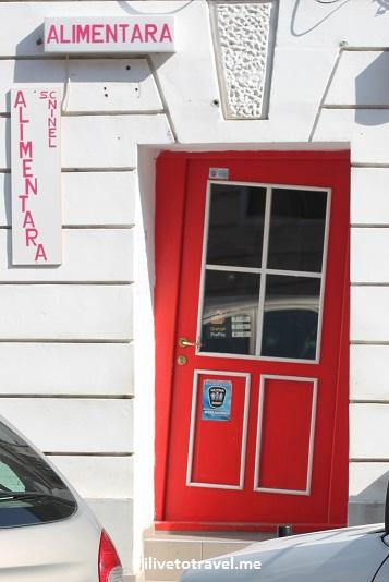 door, tilted door, Brasov, Romania, red door