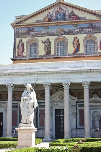 St. Paul Outside the Walls, facade, Rome, Italy, Catholic Church, major basilica, statue, mosaics, photo, travel