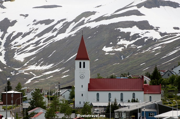 Dalvik, Dalvík, Iceland, fjord, Eyjafjordur, fishing town, mountains, boats, churches, Canon EOS Rebel, photo, travel