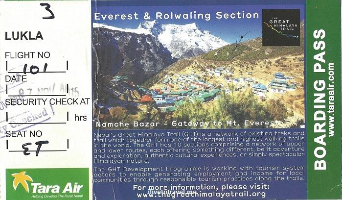 Lukla, Tara Air, boarding pass, Nepal, flight, airline, travel, Everest