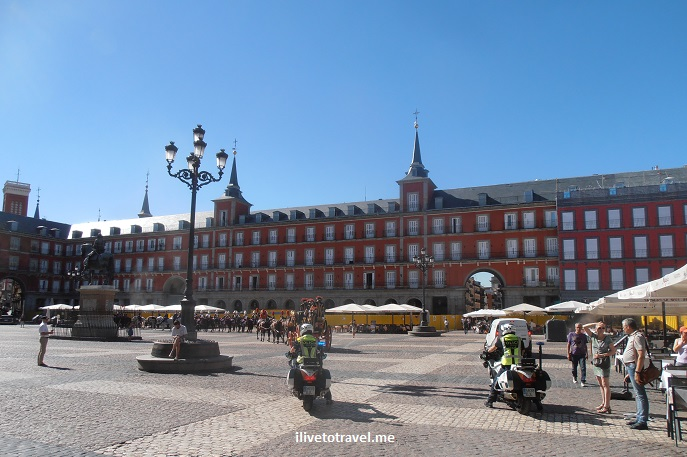 Plaza Mayor, Madrid, Spain, architecture, travel, tourism, Olympus
