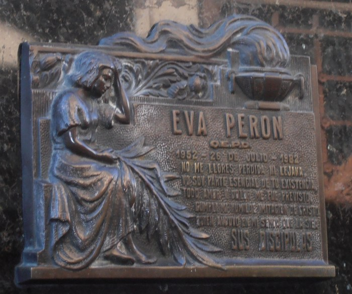 Evita, Argentina, tomb, Recoleta, cemetery, plaque, photo, travel