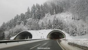 drive, driving, Austria, Lech, Vorarlberg, winter, snow, road, tunnel