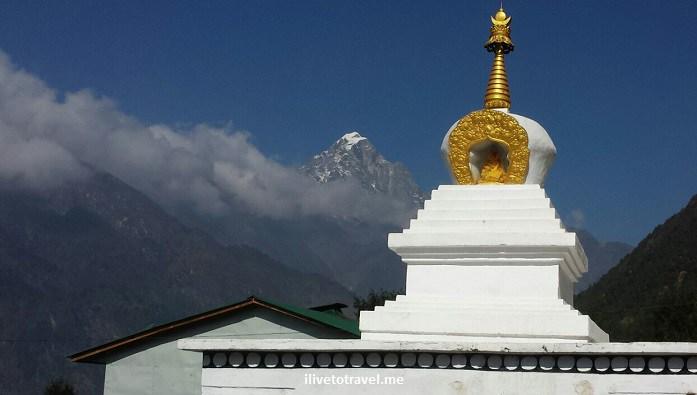 Everest,Nepal, base camp, Himalayas, blue sky, stupa, stoupa, mountains, cloud