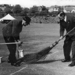 Groundsmen preparing the wicket for a Derbyshire cricket match on Ilkeston rec. …