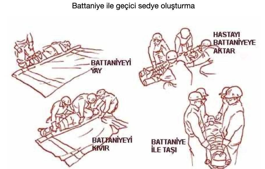 Battaniye ile geçici sedye oluşturma