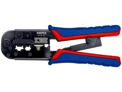 Die KNIPEX Crimpzange für Westernstecker 97 51 10 gilt alsProfiwerkzeug zum Schneiden und Abmanteln von flachem, nicht abgeschirmtem...