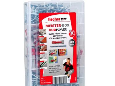 Die fischer Meister-Box DuoPower mit Schrauben enthält vorsortiert 50 DuoPower 6 x 30, 30 DuoPower 8 x 40 sowie 50 Spanplattenschrauben...