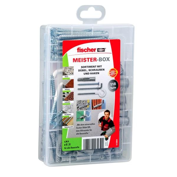 Die fischer Meister-Box UX mit Schrauben und Haken enthält vorsortiert 50 Universaldübel UX 6 x 35 R, 25 Universaldübel UX 8 x 50 R sowie 20