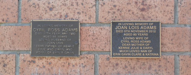 Ross and Joan Adams Plaques at St Augustines Anglican Cemetery Bulli