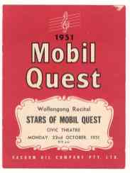 1951, Program for Mobil Quest with Illawarra Choral Society and June Bronhill.