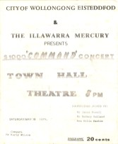 """City of Wollongong Eisteddfod $1000 """"COMMAND"""" Concert flyer, May 19 1979"""