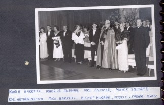 CYO Ball or YCW Ball - Sue standing in receiving line with Bishop McCabe and Father Ryan – L to R Maria Barrett, Maurice McEwan, Mrs. Squires, Mayor Squires, Ros Hetherington, Mick Barrett, Bishop Thomas McCabe, Father Ryan - 17th Aug 1965