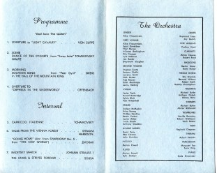 """Wollongong Symphony Orchestra """"A Concert of Popular Music"""" Program, 28th Oct 1972"""