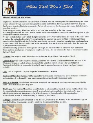 Albion Park Men's Shed Vision Statement