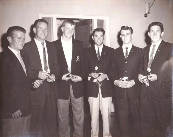 1960 Brass Monkeys Presentation at Master Builders Club Charlotte St Wollongong - Russ Jones, Owen Mercer, Peter Dorrington, John Sim, Richard Hart, Barry Adams