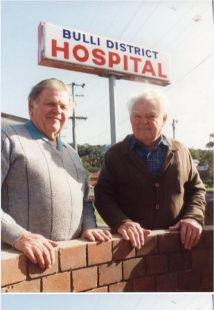 P25895 - Former Bulli Hospital Board members Syd Atkins (right) and Alan Daisley joined staff members to celebrate the hospital's centenary. 11th June 1992