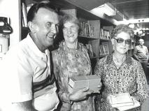 P11157 - Bookmobile driver Albert Beaumont with borrowers after the opening of the new bookmobile on 5th May, 1986
