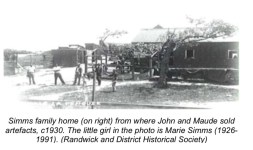 Simms family home (on right) from where John and Maude sold artefacts. The little girl is Marie Simms (1926-1991).