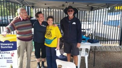 Illawarra Sunrise Rotary Club selling raffle tickets at the Lifeline Book Fair at Berkeley for Lifeline and the Illawarra Women's Health Centre