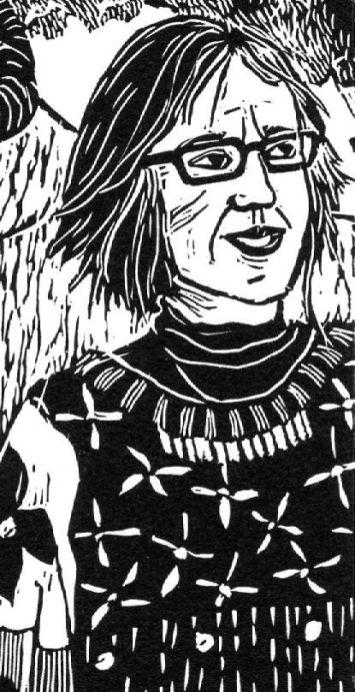 Kathryn Orton - Lino Self-Portrait