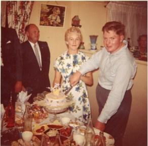 John and Barbara cutting their engagement cake - February 1961