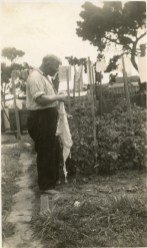 John's father, James Percy, in the garden - 1943