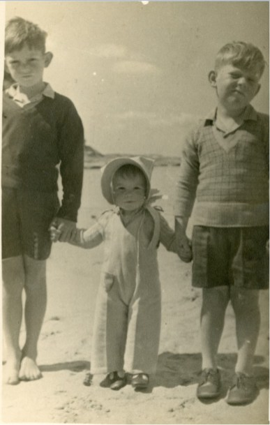 John Street (right) with his brother Jim and sister Lorna - August/September 1948