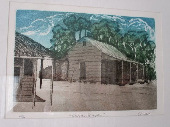 """Vic's etching - """"Currawillinghi Station"""""""