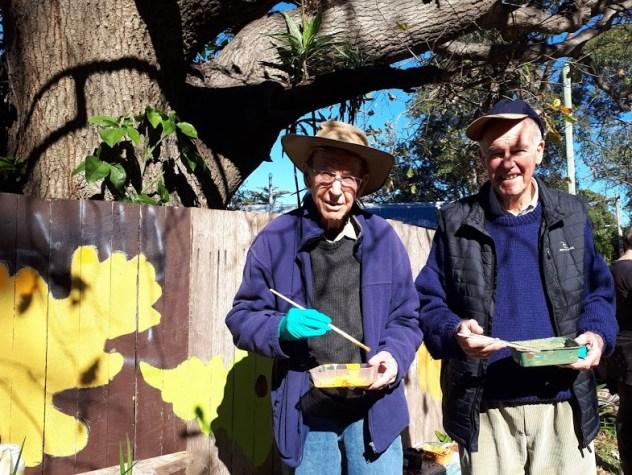 Pete and Bob at the Oak Tree mural.