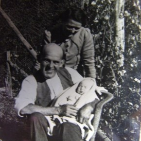 1945 - Jack & Sarah Foulds with First grandchiled James (Jim) Powell