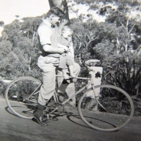 1947 - Jim on bike with Dad at Blue Gum