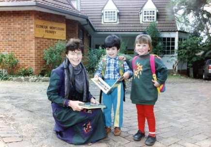 P22689 - Elonera Montessori Primary School director, Josy Ludwig with, from left, Fabio Ward (4 years) and Lauren Phipps (3 years)