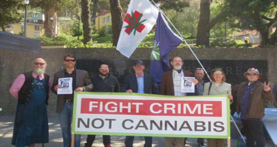 Medical marijuana advocates, including BPG director Etienne Fontan (R)
