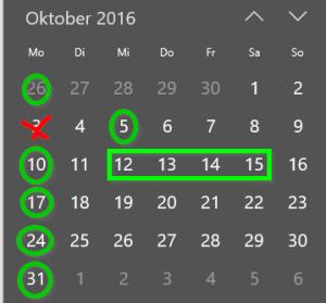 Training im Oktober