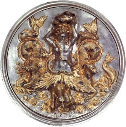 "A depiction of Scylla, one of the objects from the ""Morgantina Silver"" collection recently repatriated"