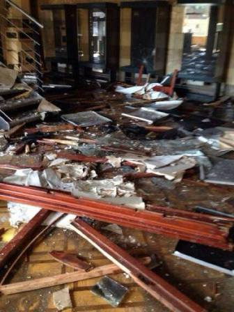 Damage inside the Islamic Art Museum in Cairo