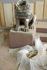A terracotta lion dating from 1800 BCE, damaged by looters during the Iraq invasion of 2003