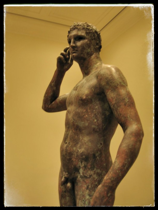 Bronze Statue of a Victorious youth, at the Getty Villa