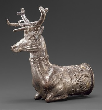 A Silver Rhyton depicting a stag, ca. 14th-13th C BCE. One of the objects Turkey has reportedly inquired about from the Met.
