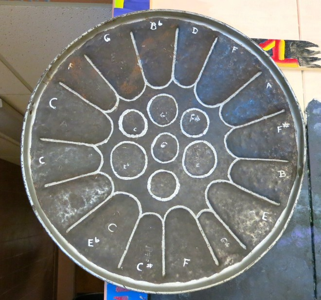 A Caribbean Steel drum, an instrument made using traditional knowledge
