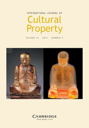 New Issue of the International Journal of Cultural Property