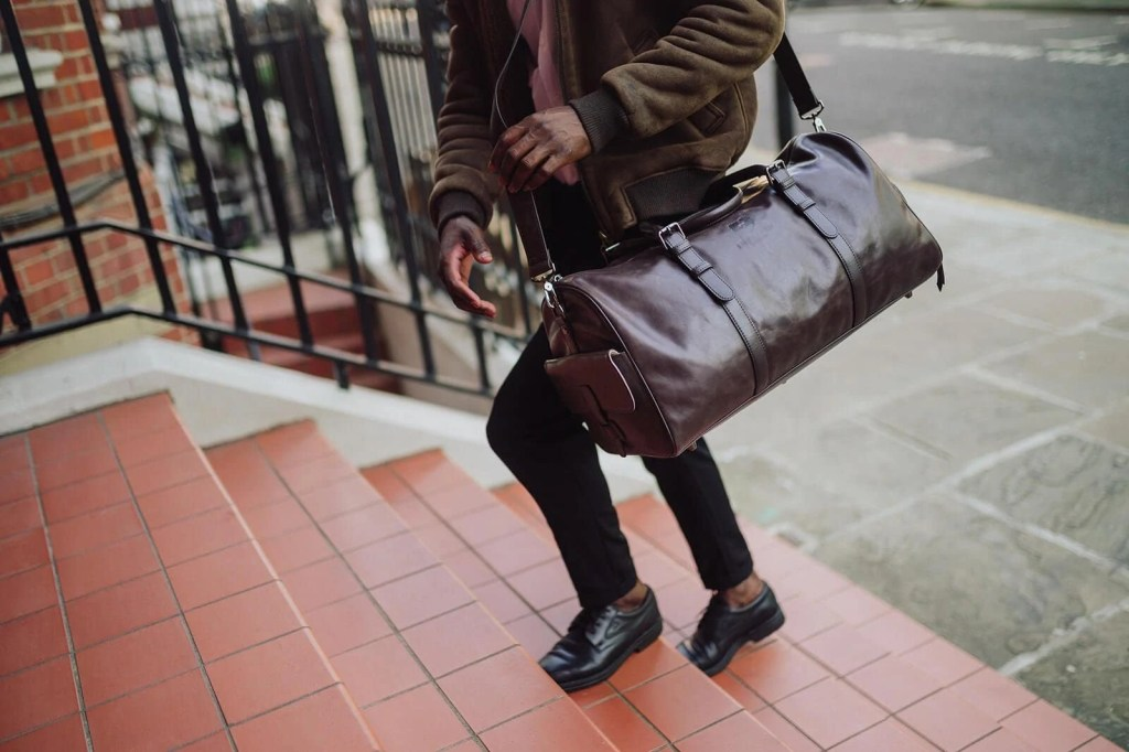 illicium dark brown duffle bag