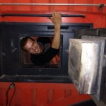 Damien Kostellic showing just how comfy the inside of one of the boilers can be...when it's turned off!