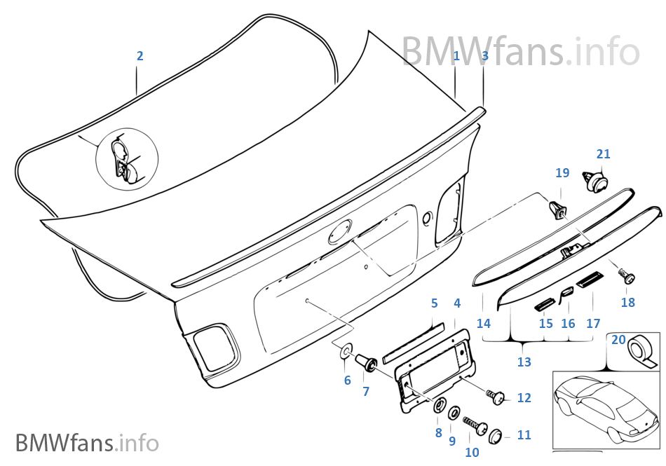 Single components for trunk lid | BMW 3' E46 M3 S54 Europe