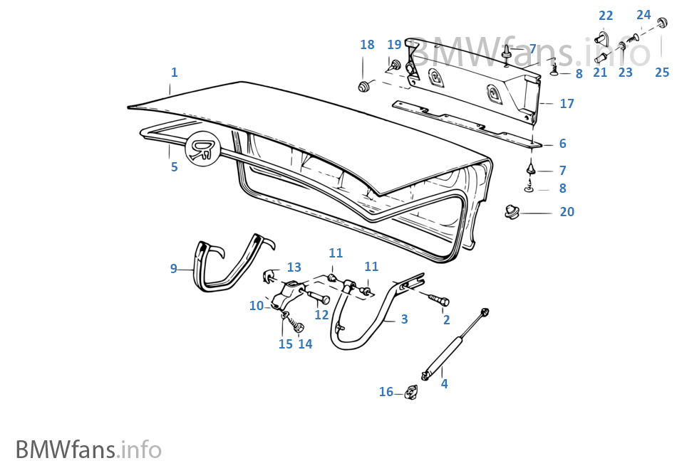 Single components for trunk lid | BMW 5' E34 520i M50 Europe
