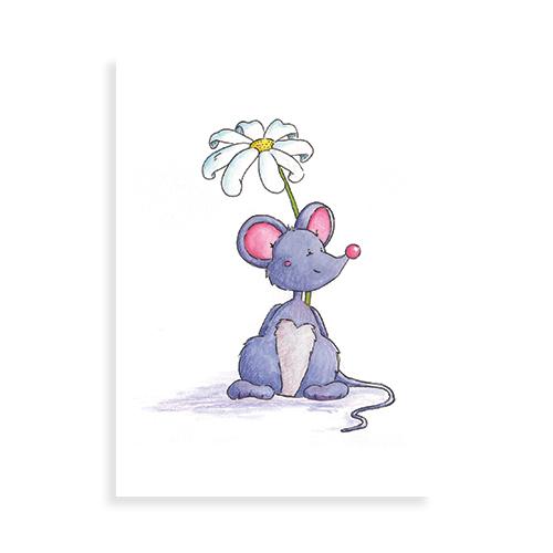 """Voorkant ansichtkaart """"Muisje met bloem"""""""