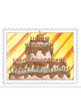 Afbeelding van de kaart met chocoladetaart.